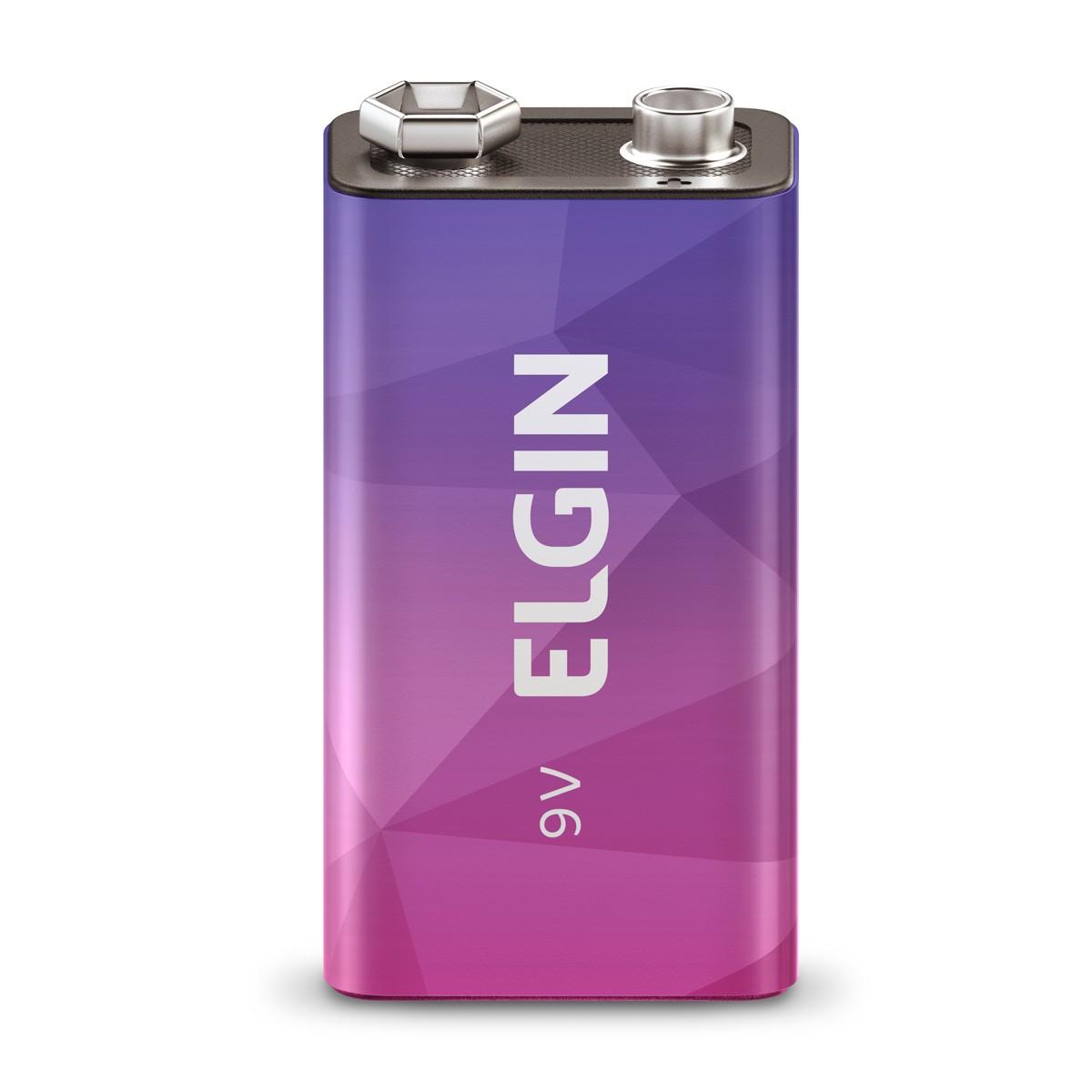 08 Baterias ELGIN 9V 250mAh Recarregável Alcalina 8 cartelas