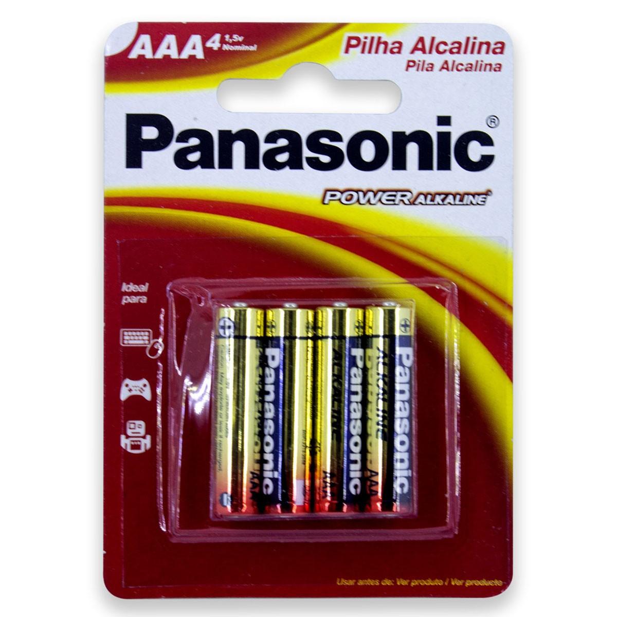 08 Pilhas AAA Alcalina PANASONIC 2 cartelas