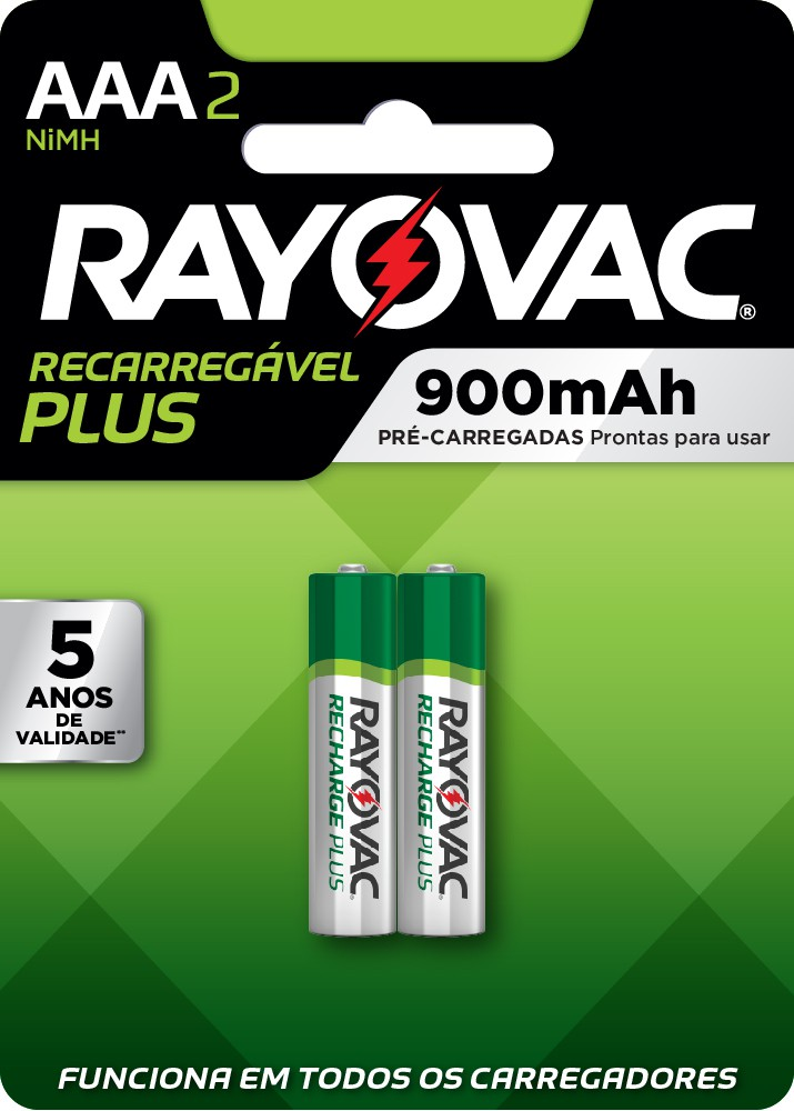 08 Pilhas AAA Recarregáveis 900mAh RAYOVAC 4 cart c/ 2 unid