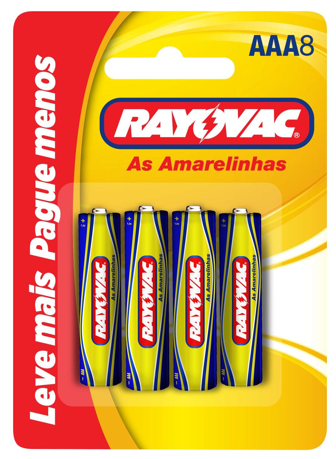 08 Pilhas AAA Zinco Carvão RAYOVAC 1 cartela