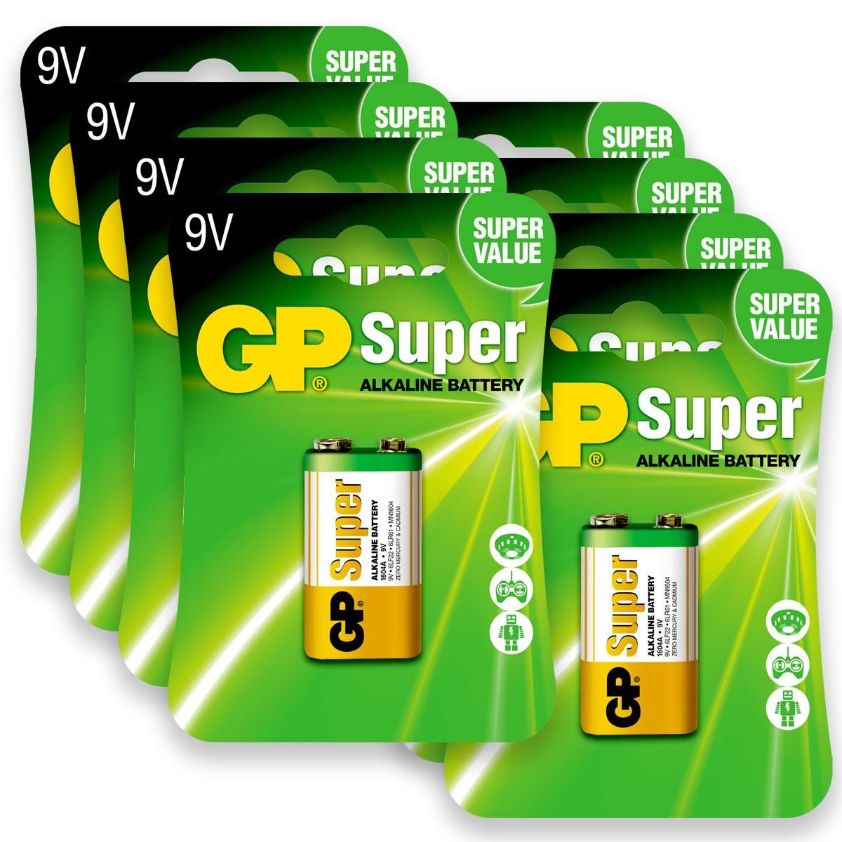 08 Pilhas Bateria 9V Alcalina GP Super 8 cartelas