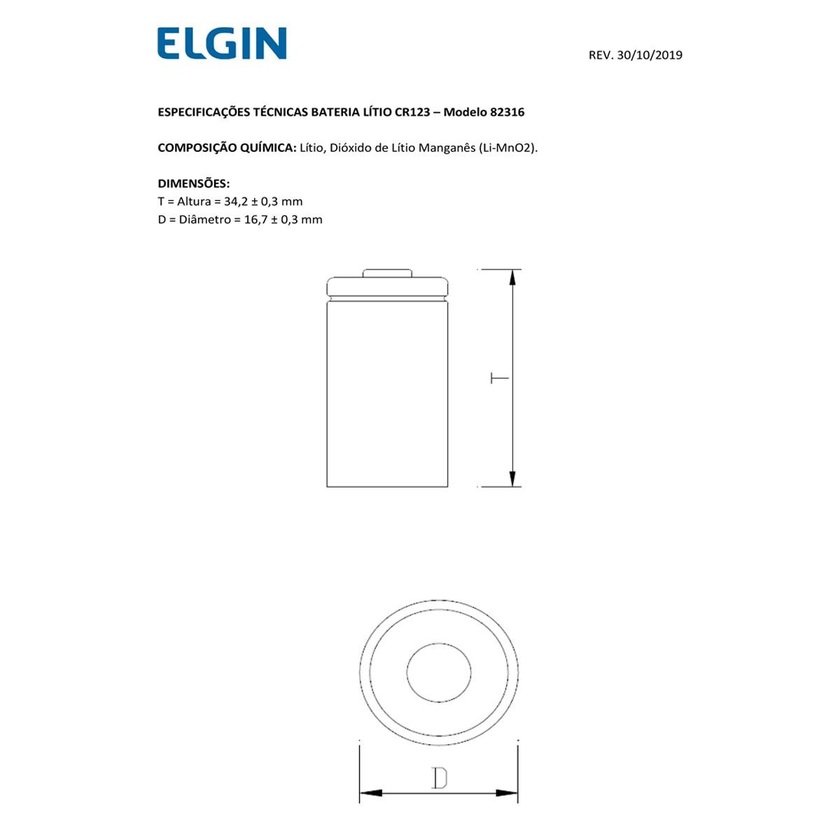 08 Pilhas Bateria CR123A 3V ELGIN 8 cartelas