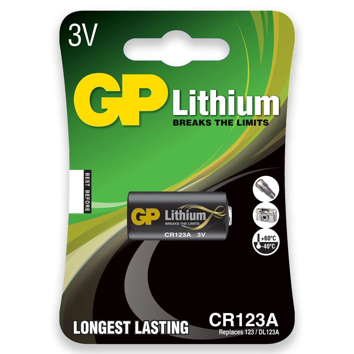 08 Pilhas Bateria CR123A 3V GP 8 cartelas