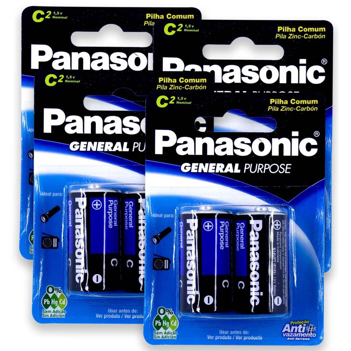 08 Pilhas C Zinco Carvão PANASONIC 4 cartelas