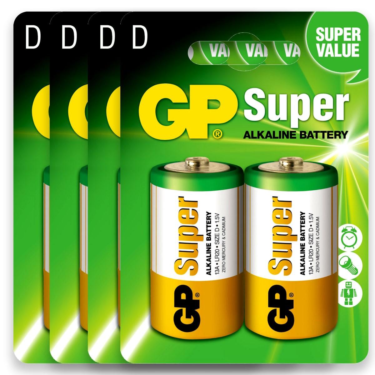 08 Pilhas D Grande LR20 Alcalina GP Super 4 Cartelas