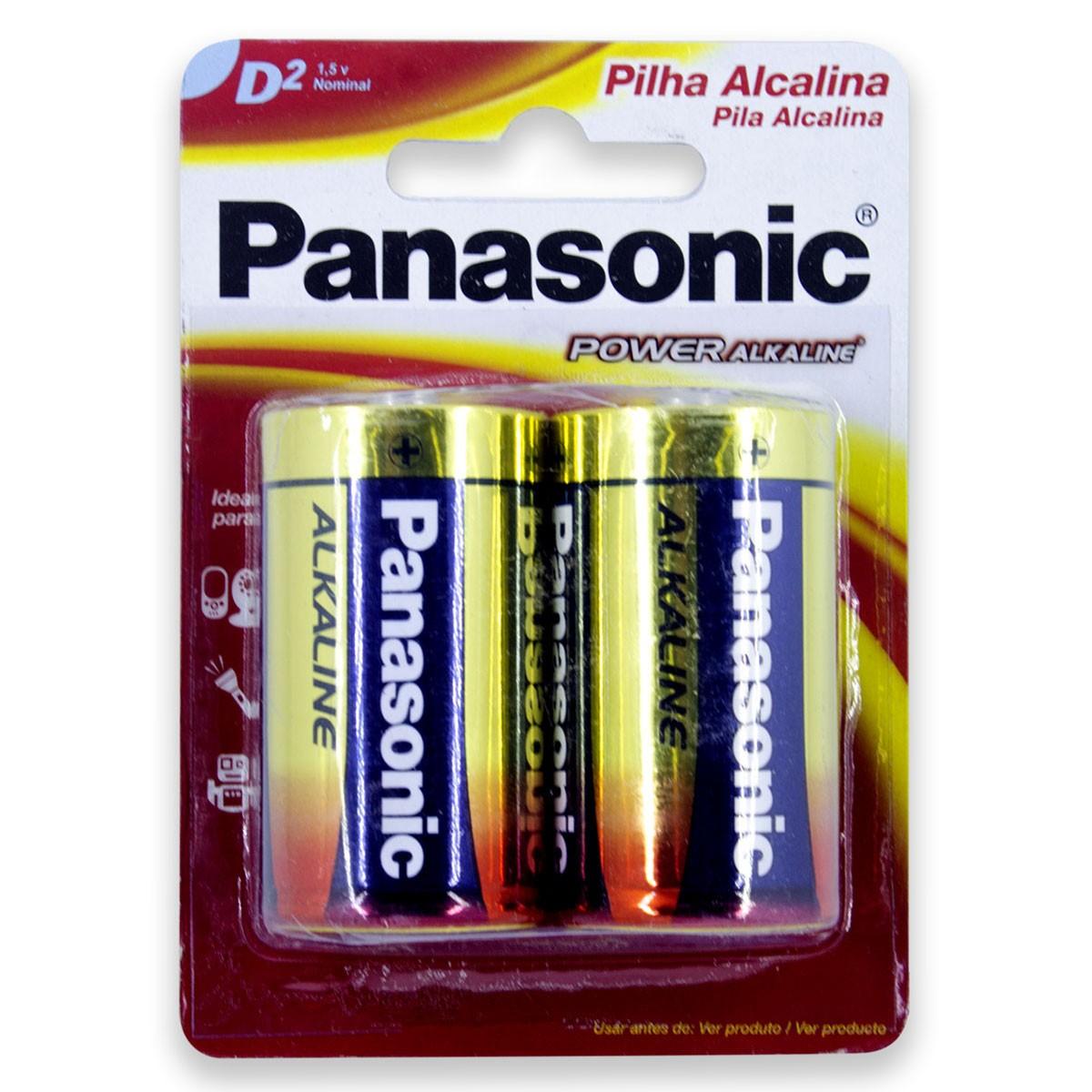 08 Pilhas D Grande LR20 Alcalina PANASONIC 4 Cartelas