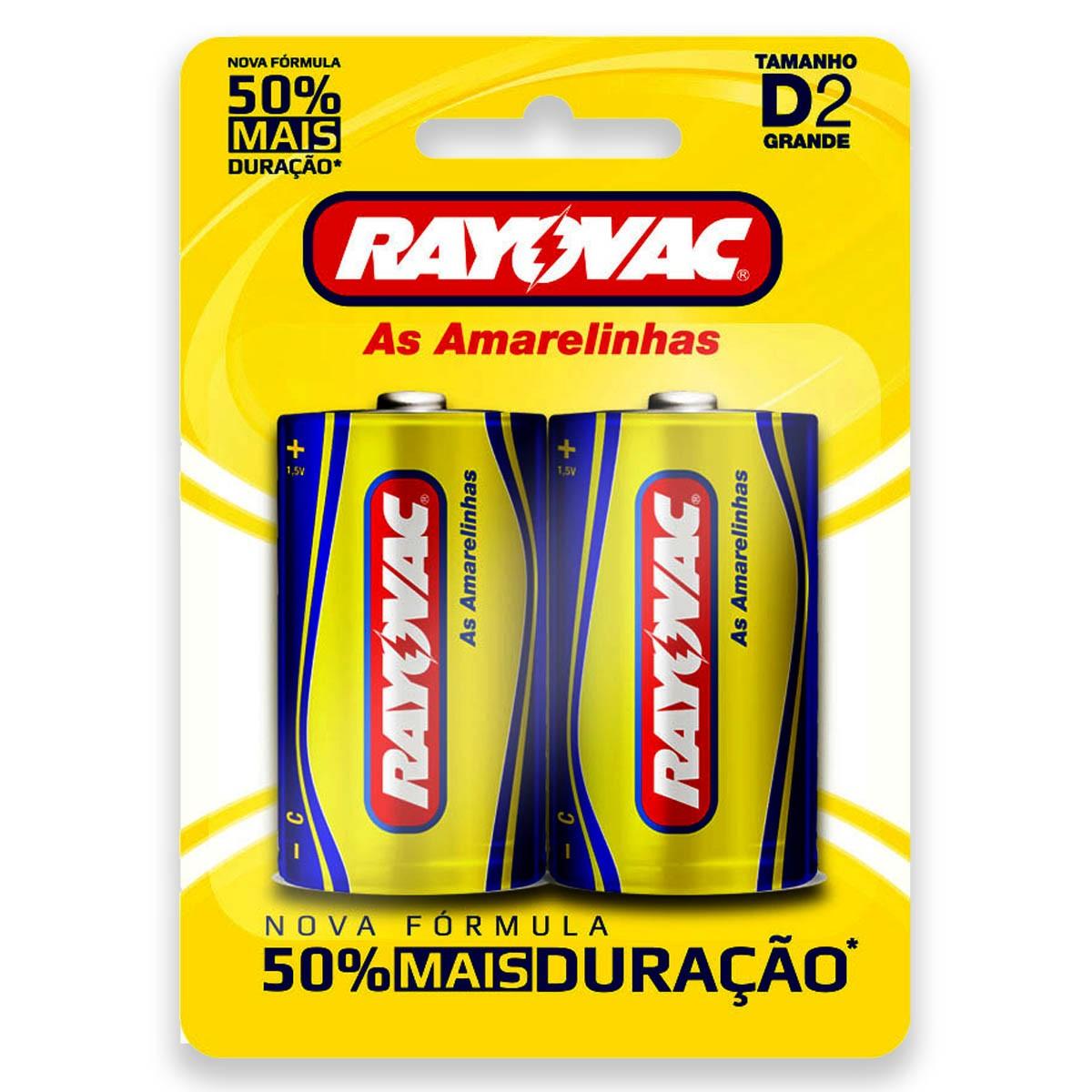 08 Pilhas D Zinco Carvão RAYOVAC 4 cartelas