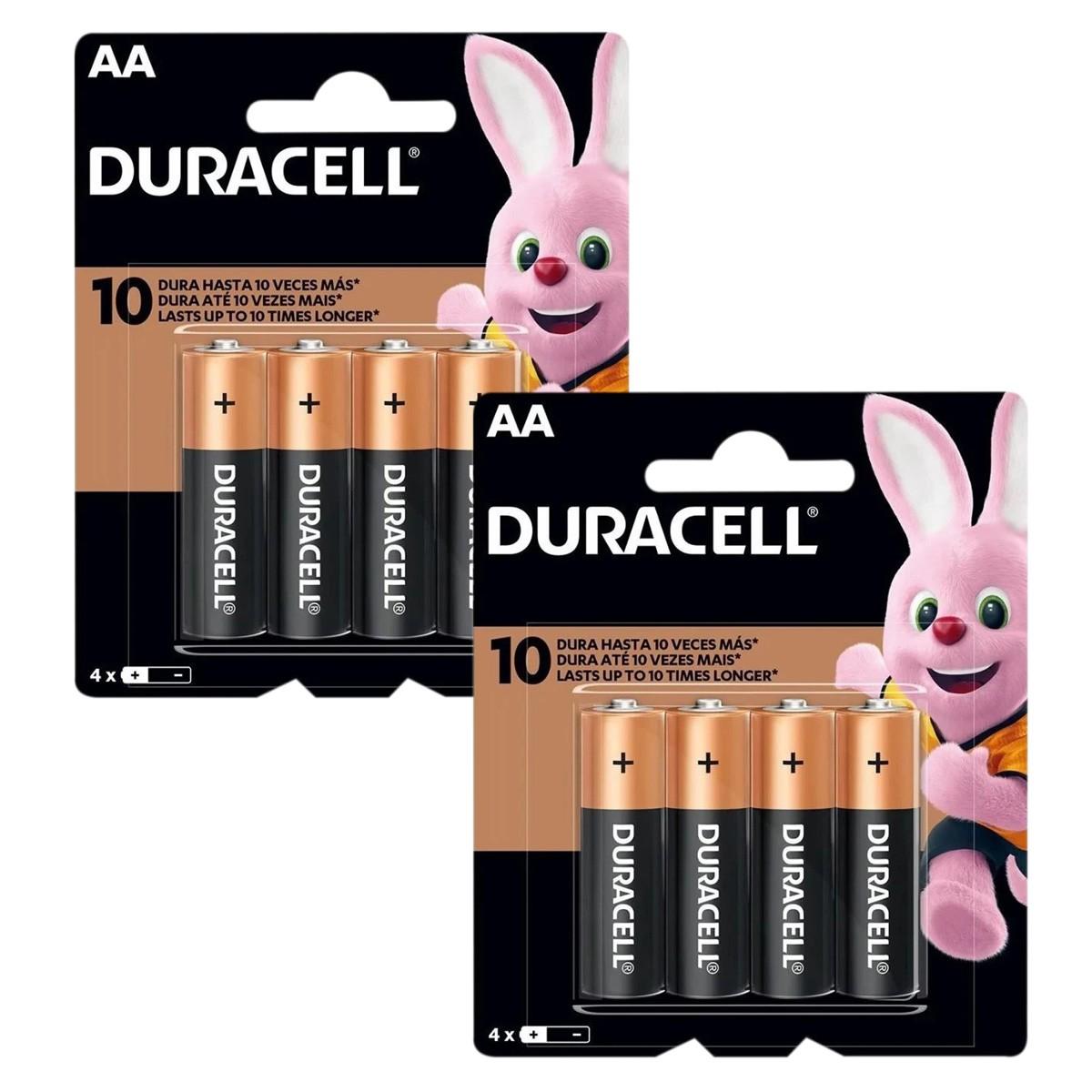 08 Pilhas DURACELL DURALOCK Alcalina AA Embalagem C/4 Unids
