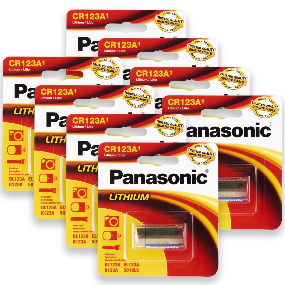 08 Pilhas PANASONIC CR123A 3V Bateria 8 cartelas