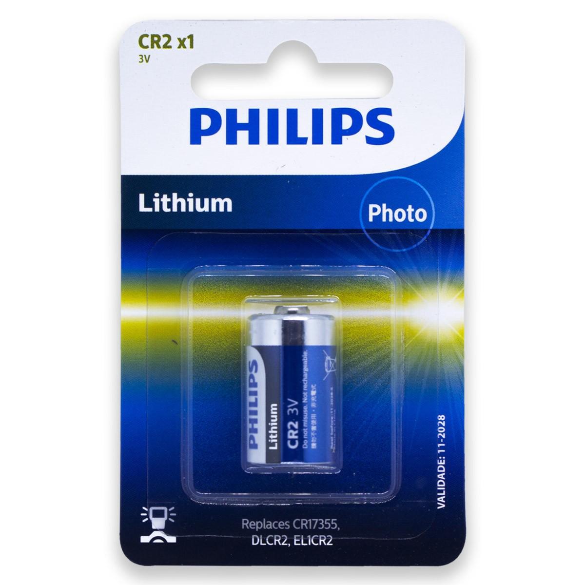 08 Pilhas PHILIPS CR2 3V Bateria 8 cartelas