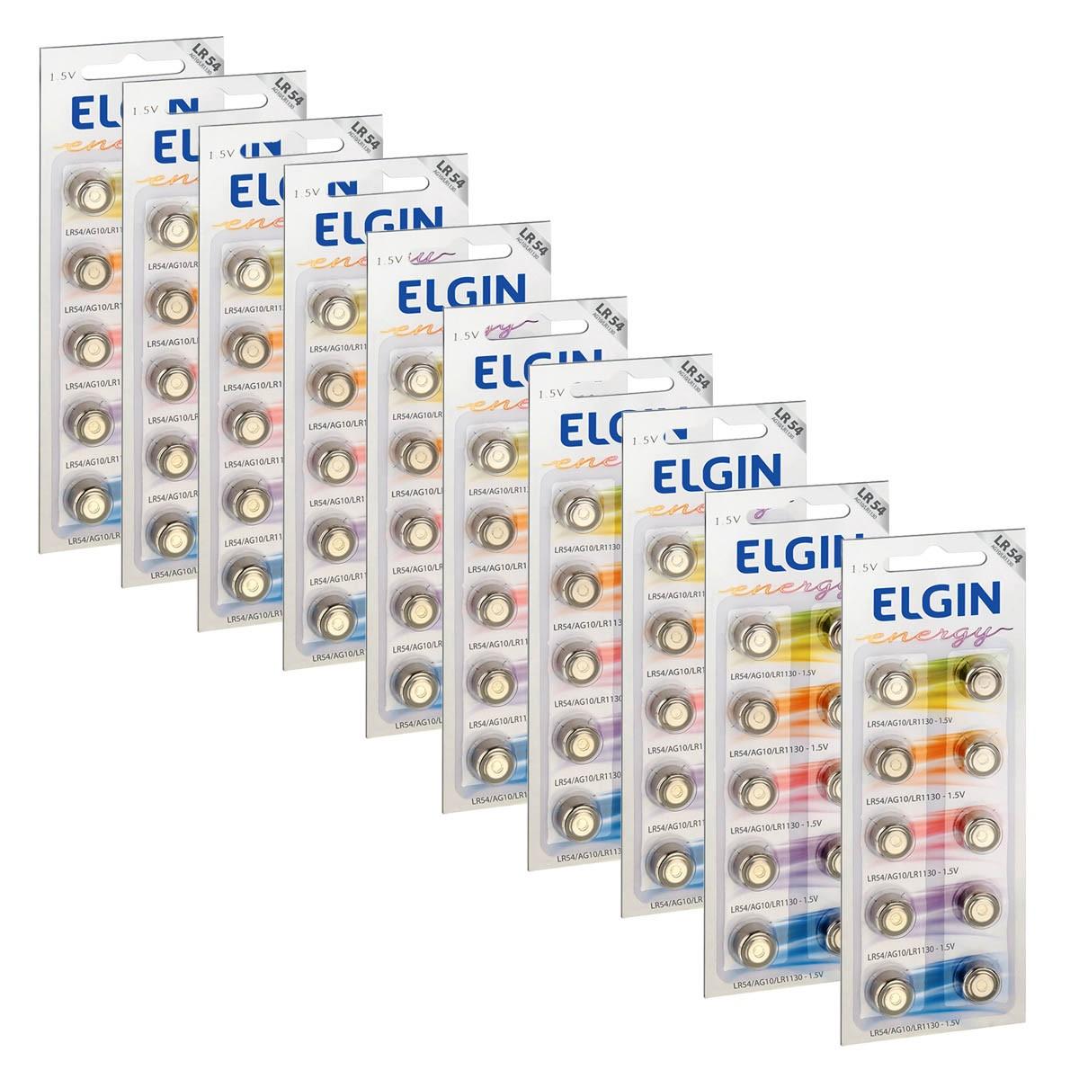 100 Pilhas Bateria LR1130 LR54 AG10 Alcalina ELGIN 10 cartela