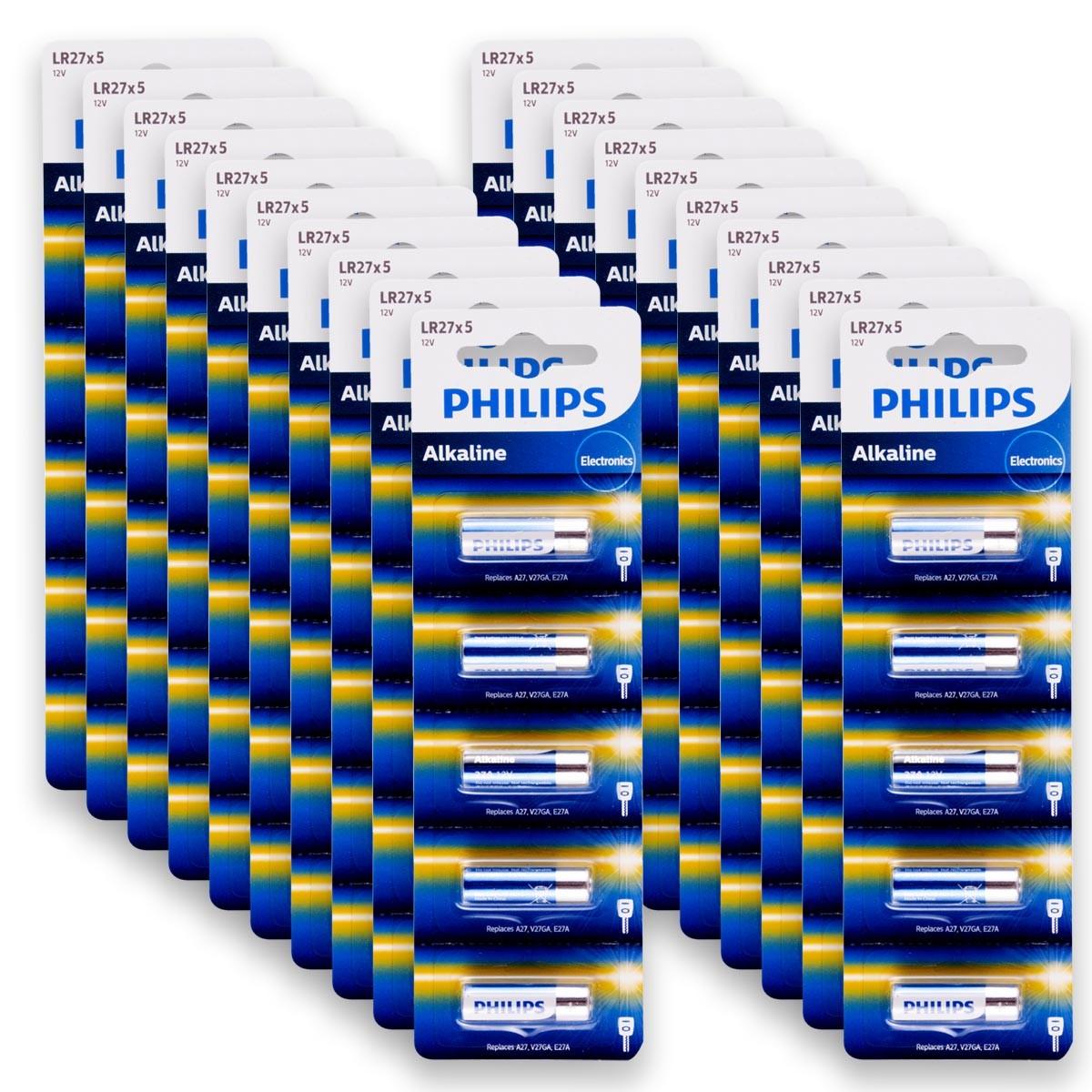 100 Pilhas Baterias PHILIPS 27A 12V A27 Alcalina 20 cartelas