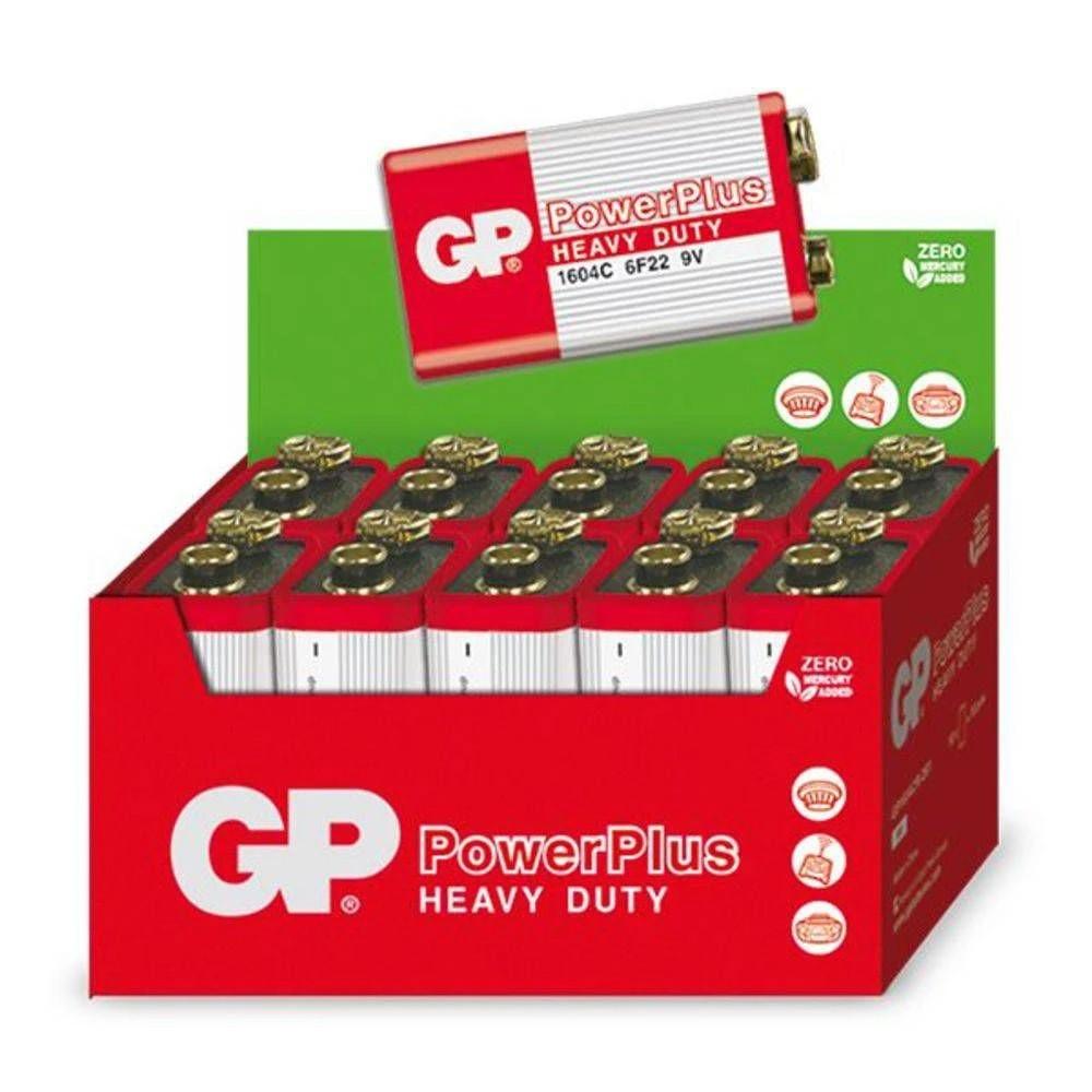 100 Pilhas GP POWERPLUS 9V Bateria Zinco Carvão 10 caixas