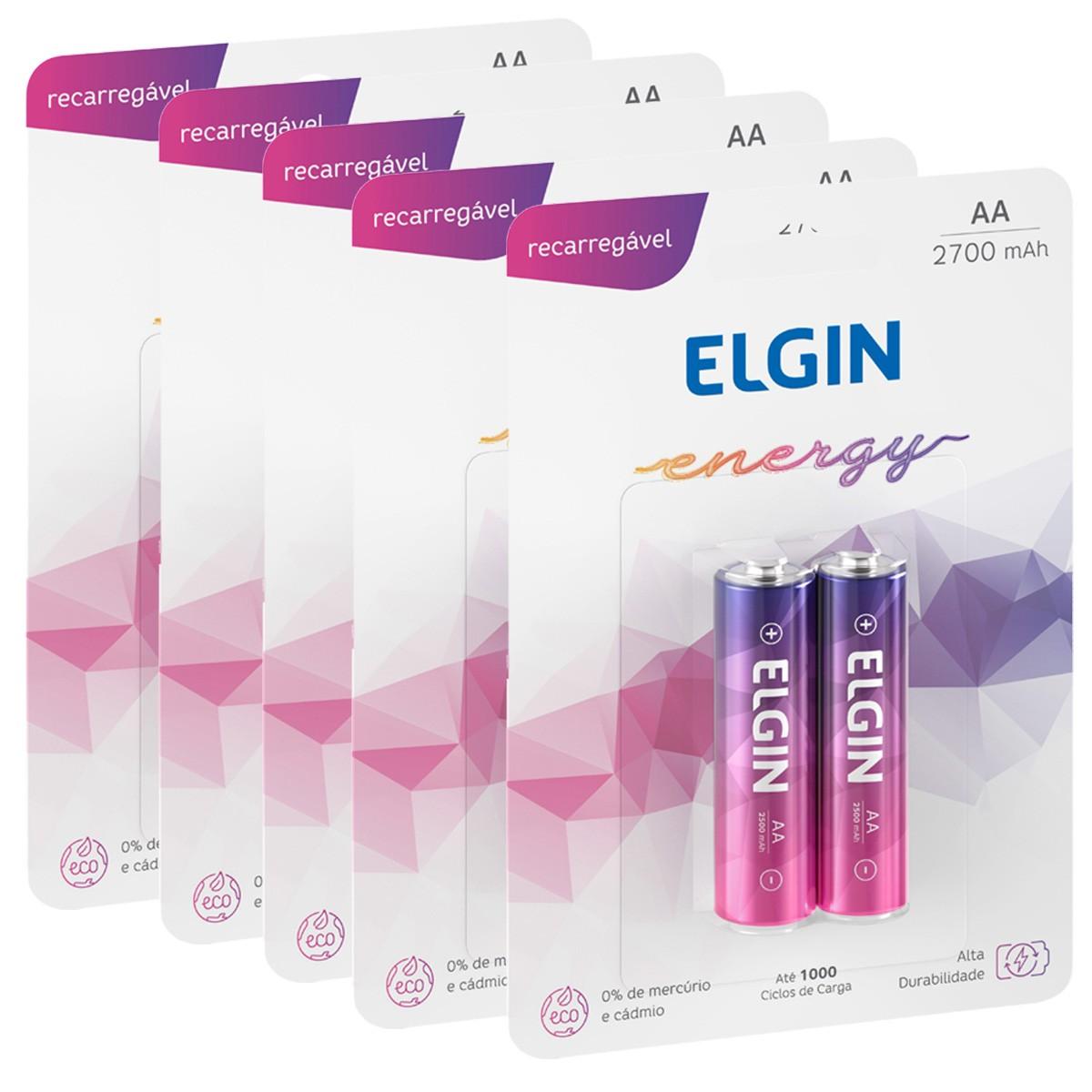 10 Bateria ELGIN AA 2700mAh Recarregável Alcalina 5 cartela