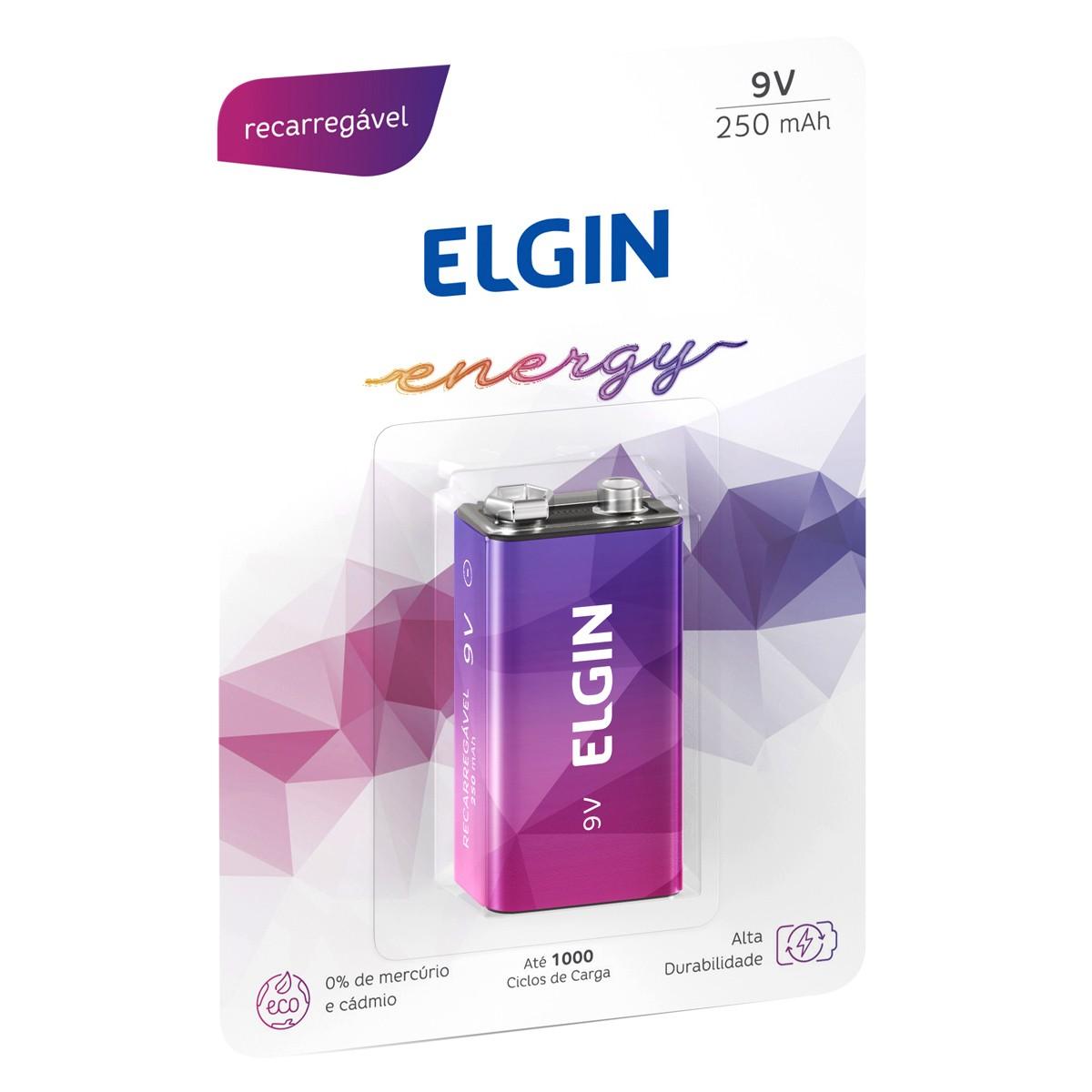 10 Baterias ELGIN 9V 250mAh Recarregável Alcalina 10 cartela