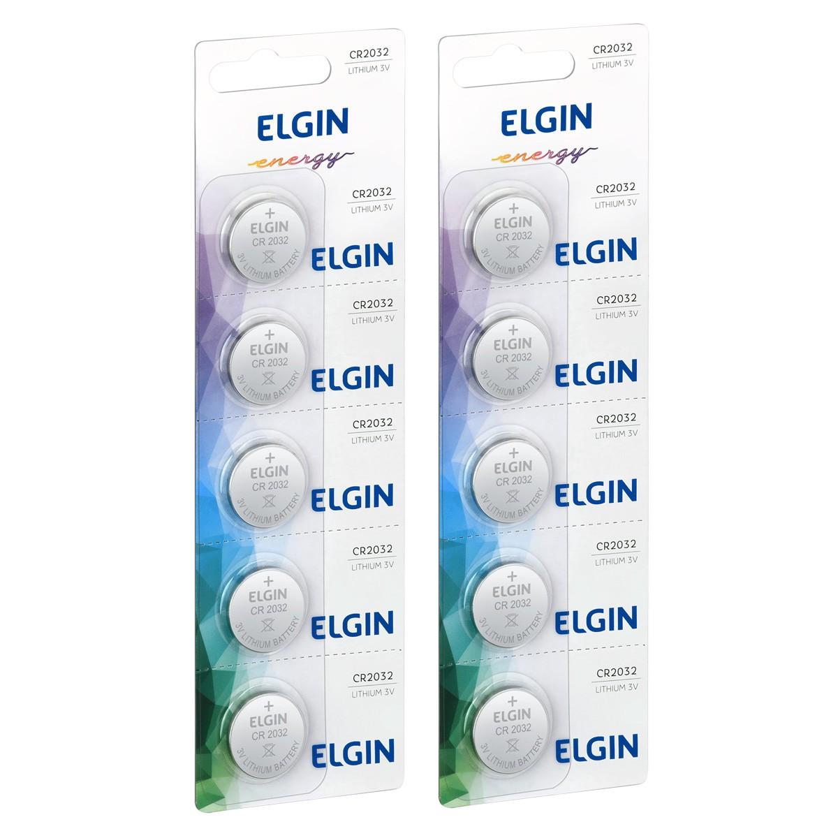10 Baterias Pilhas Lithium 3V Elgin CR2032 2 cartela