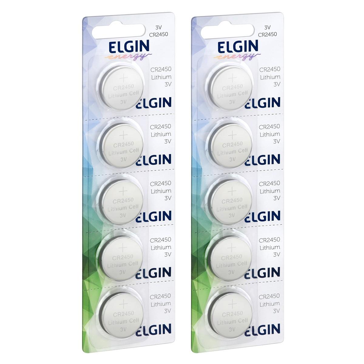 10 Baterias Pilhas Lithium 3V Elgin CR2450 2 cartela