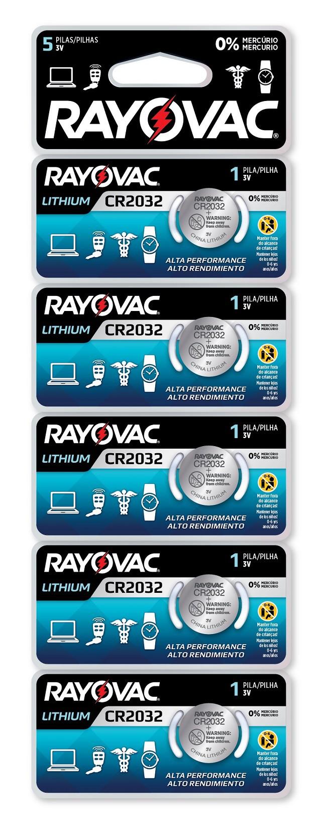 10 Baterias Pilhas Lithium 3V Rayovac CR2032 2 cartelas