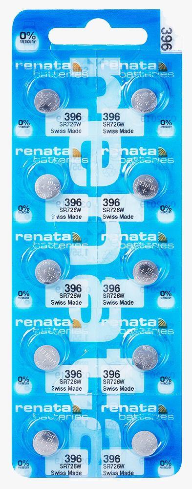 10 Pilha Bateria 396 Relógio 1.55v Renata SR726W Original - 01 cartela com 10 unidades