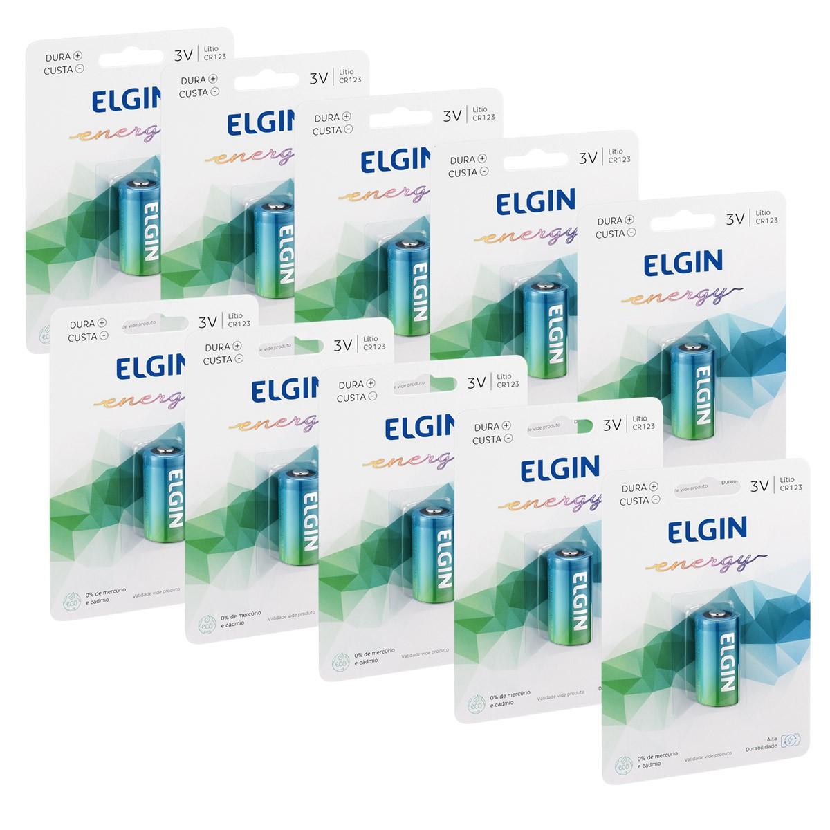 10 Pilha Bateria CR123A 3V Lithium ELGIN 10 cartela
