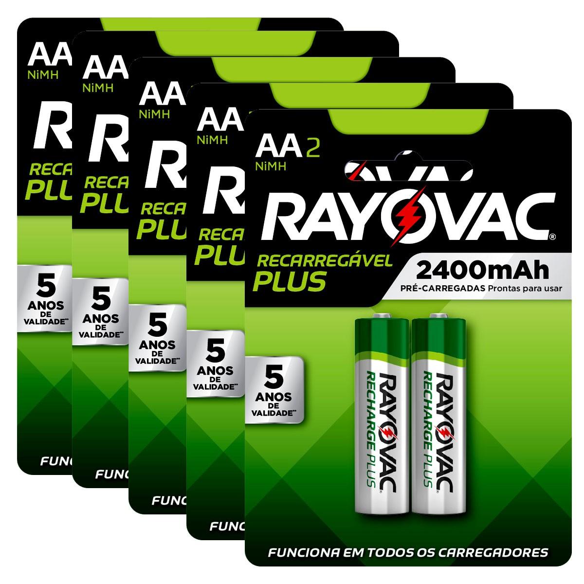 10 Pilhas AA Recarregável 2400mAh RAYOVAC 5 cartelas