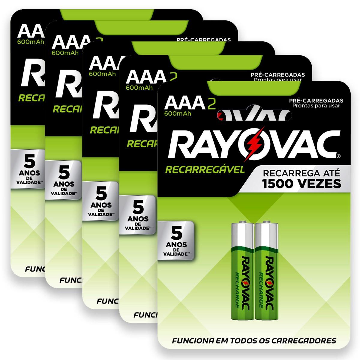 10 Pilhas AAA Recarregável 600mAh RAYOVAC 5 cartelas