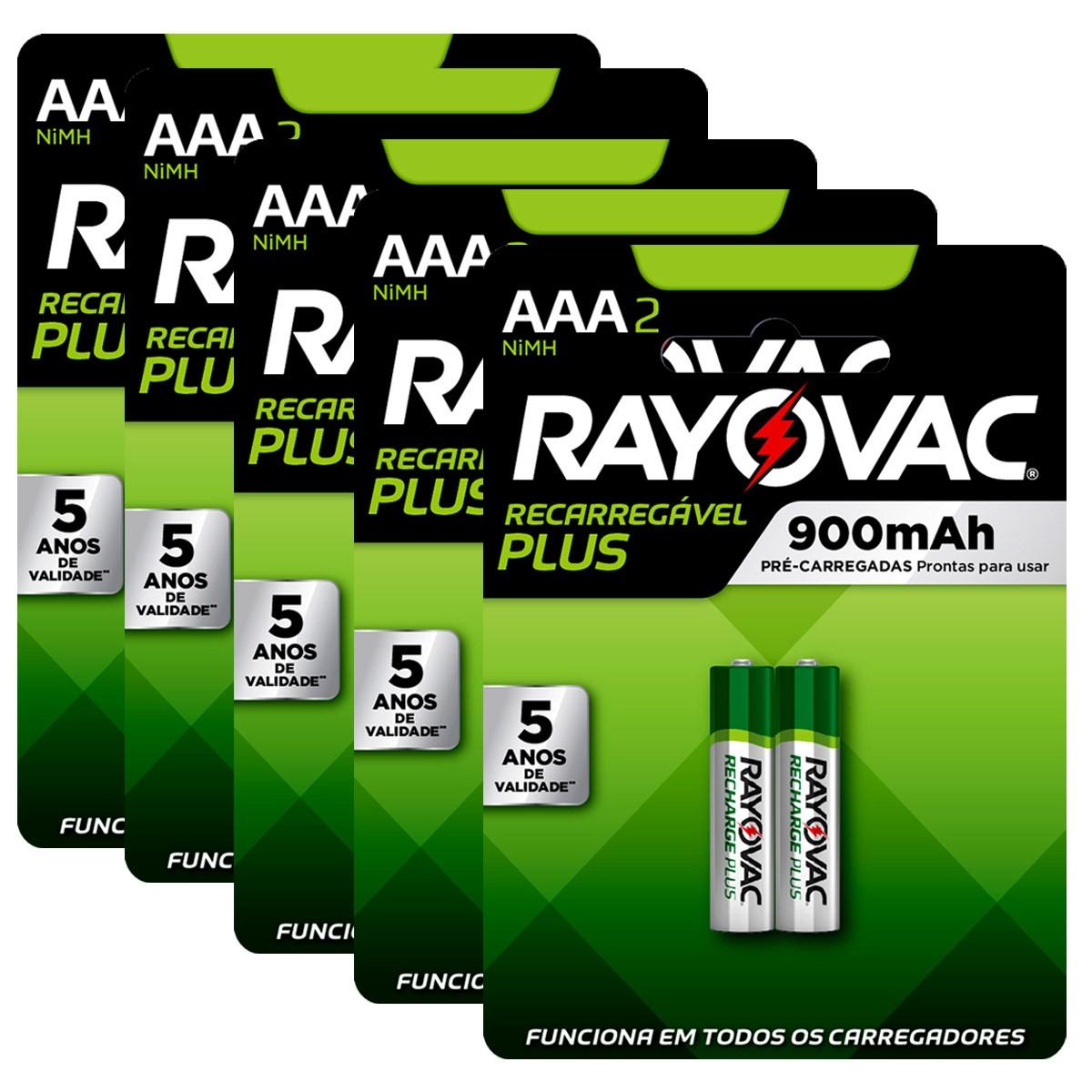 10 Pilhas AAA Recarregável 900mAh RAYOVAC 5 cartelas
