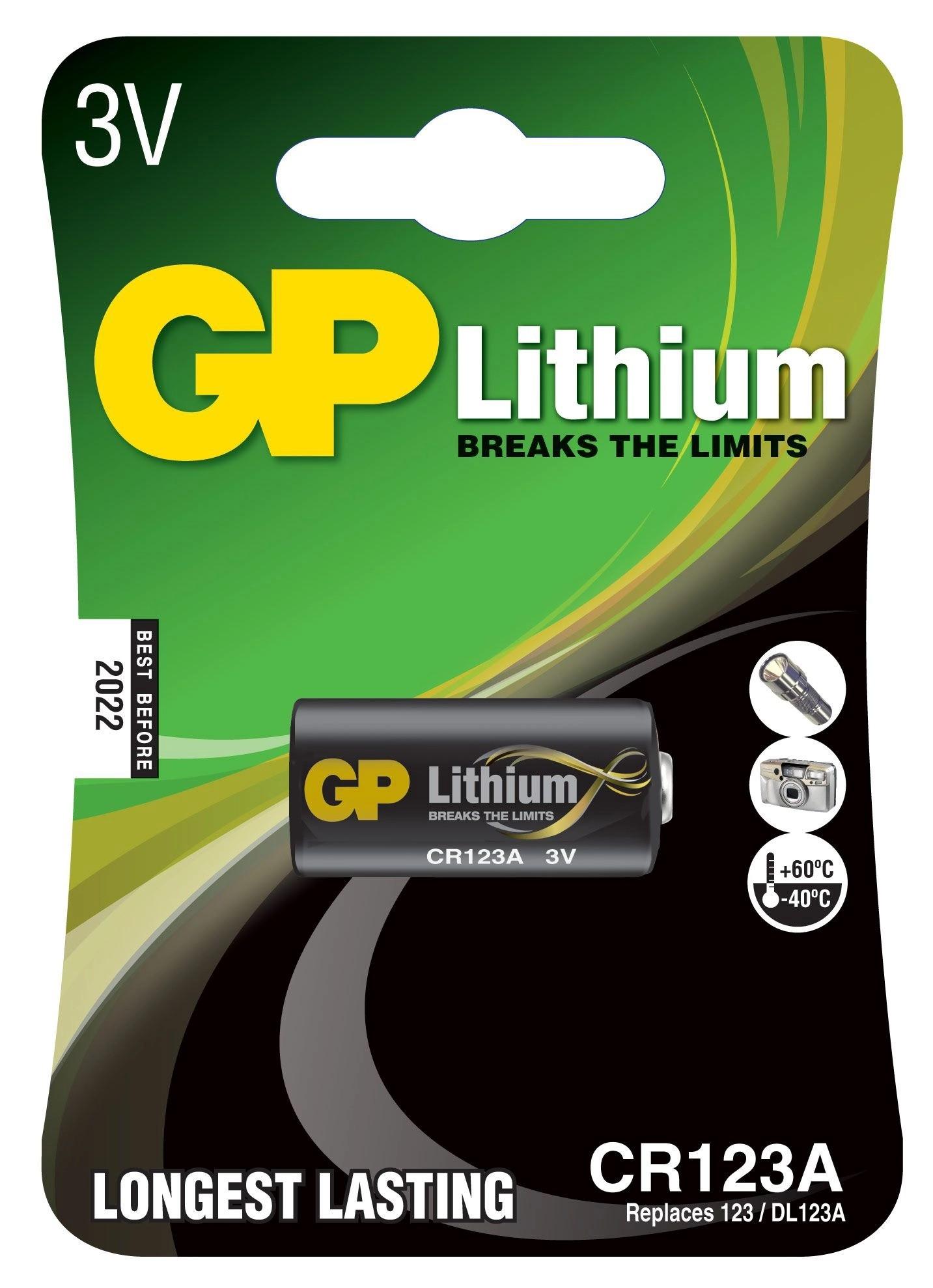 10 Pilhas Bateria CR123A 3V GP 10 cartela