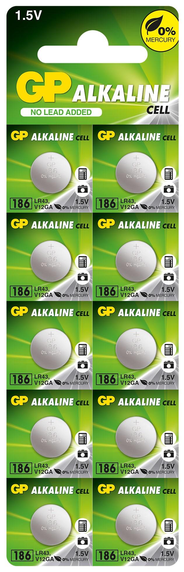 10 Pilhas Baterias LR43 186 Alcalina GP 01 cartela