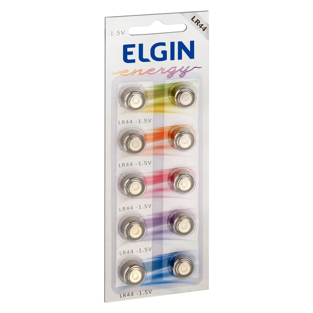 10 Pilhas Baterias LR44 A76 AG13 Alcalina ELGIN 1 cartela