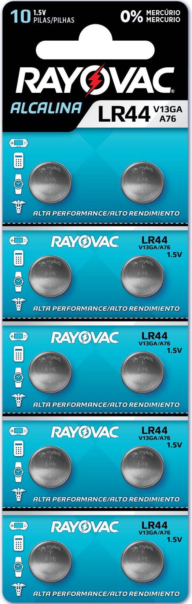 10 Pilhas Baterias LR44 A76 AG13 Rayovac - 01 cartela