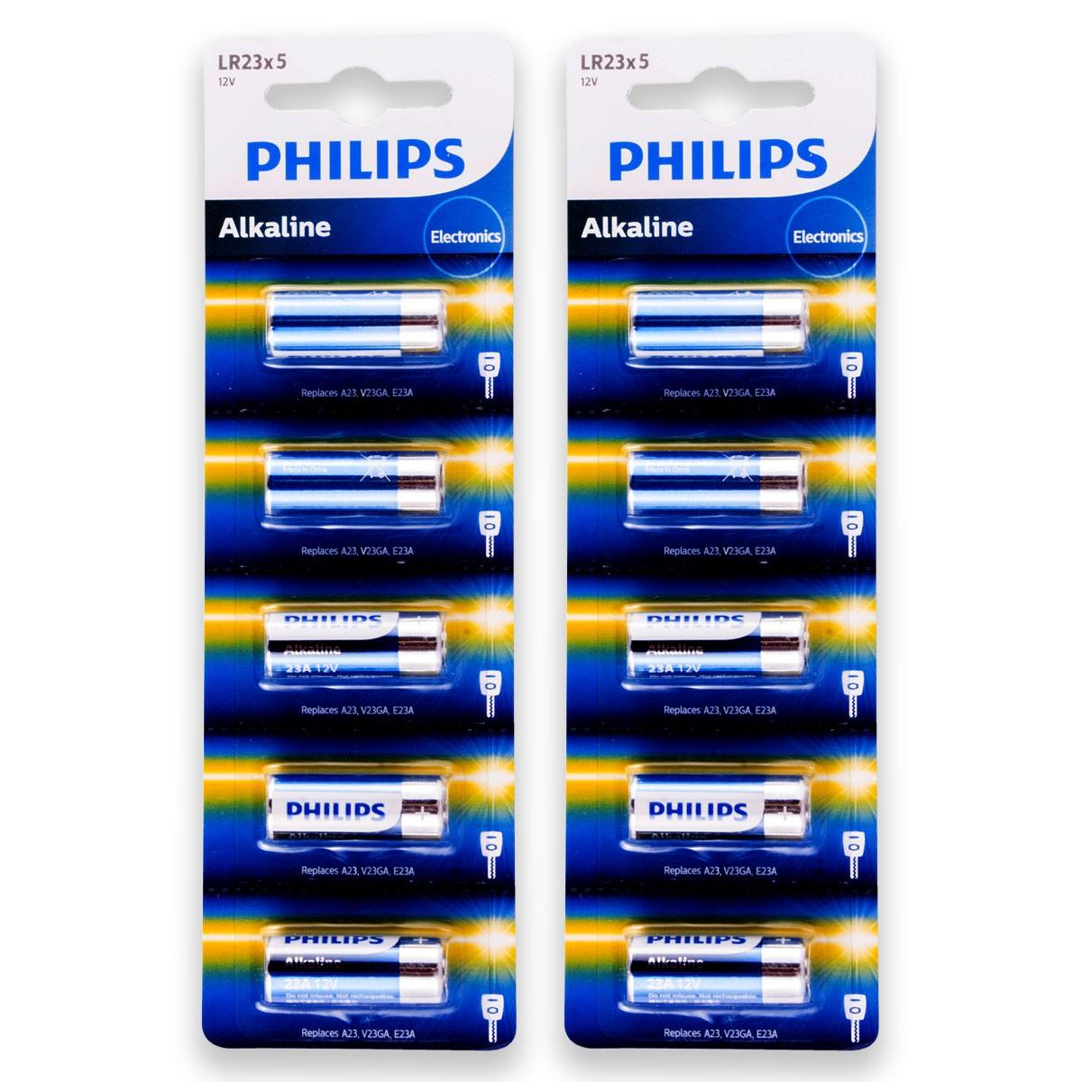 10 Pilhas Baterias PHILIPS 23A 12V A23 Alcalina 2 cartelas