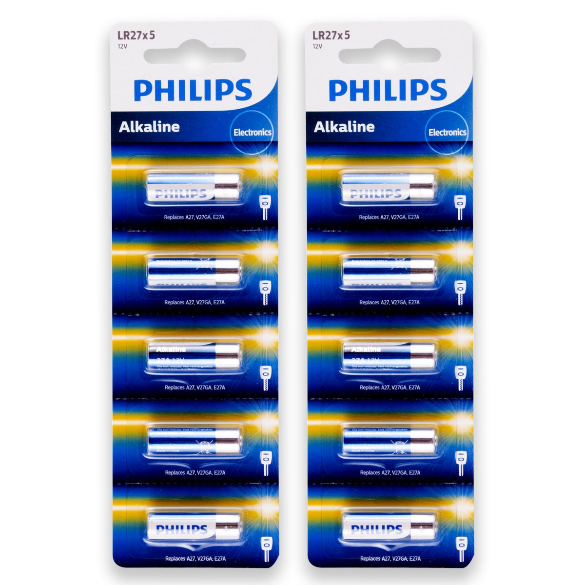 10 Pilhas Baterias PHILIPS 27A 12V A27 Alcalina 2 cartelas