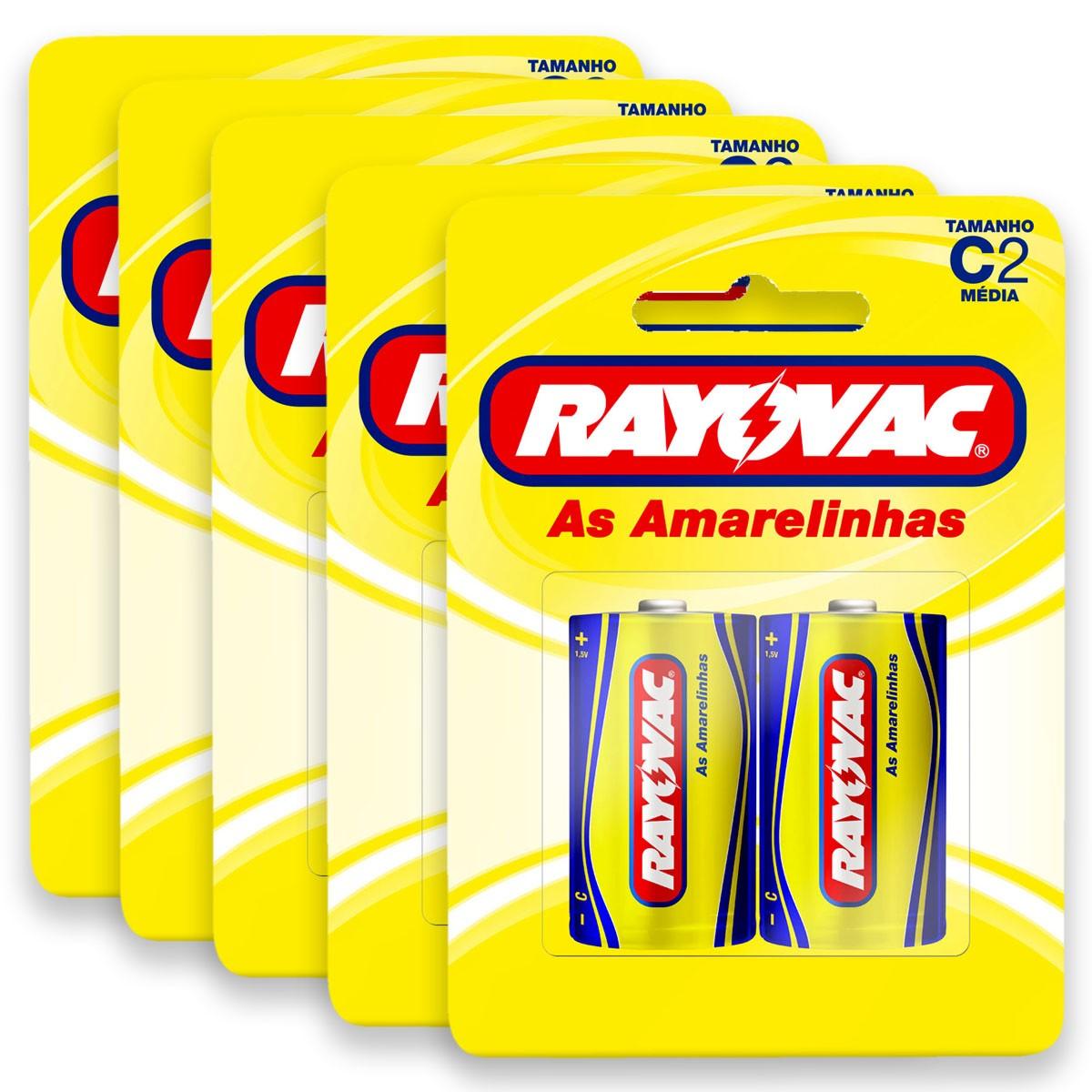 10 Pilhas C Zinco Carvão RAYOVAC 5 cartelas