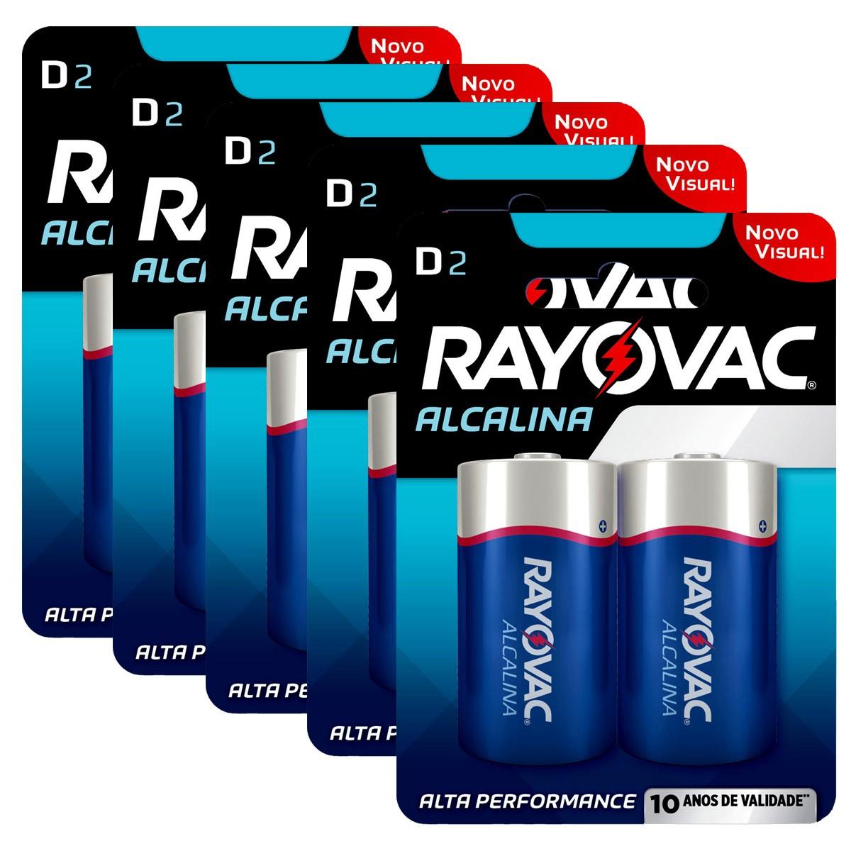 10 Pilhas D Grande LR20 Alcalina RAYOVAC 5 Cartelas