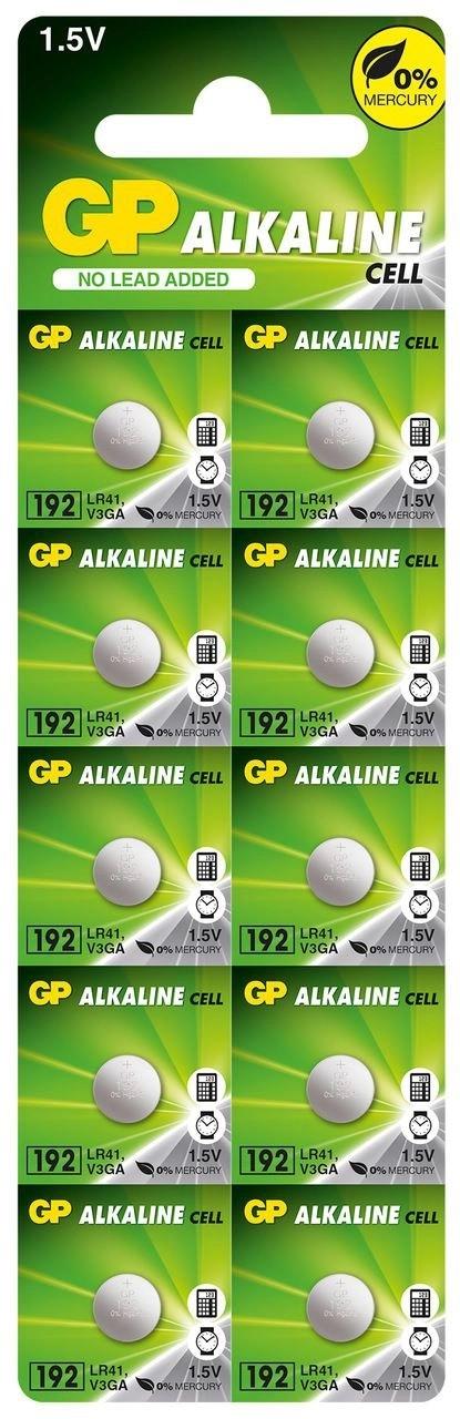 10 Pilhas GP SUPER LR41 192 AG3 Bateria Alcalina 1 cartela