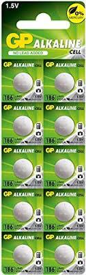 10 Pilhas GP SUPER LR43 186 AG12 Bateria Alcalina 1 cartela
