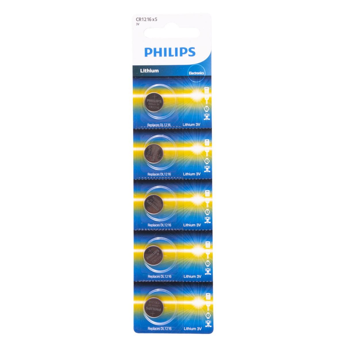 10 Pilhas PHILIPS CR1216 3v Bateria Original - 2 cartelas