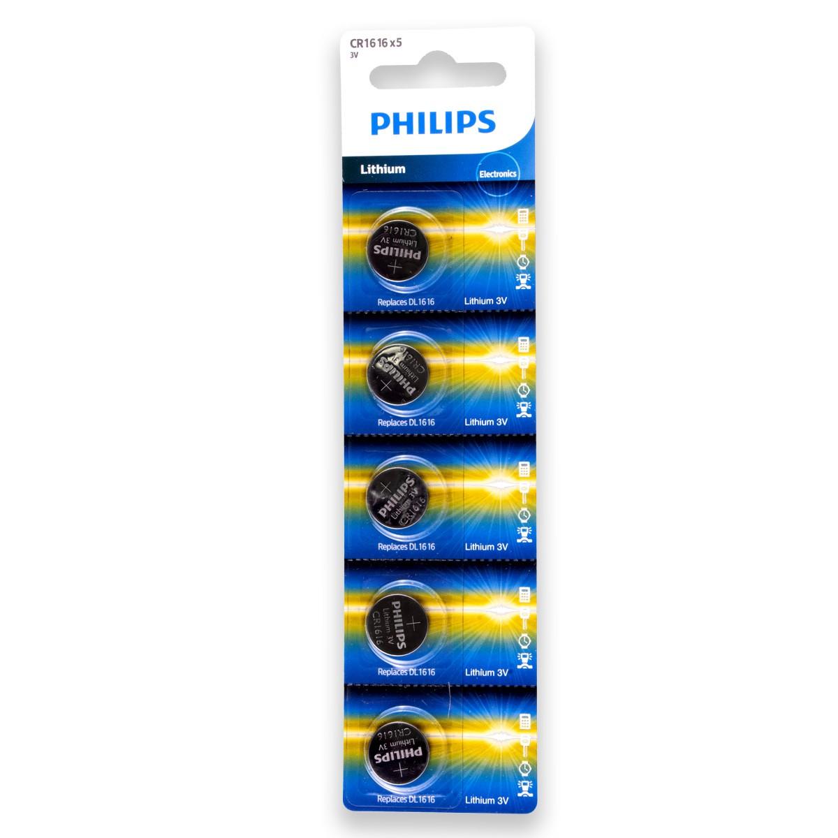 10 Pilhas PHILIPS CR1616 3v Bateria Original - 2 cartelas