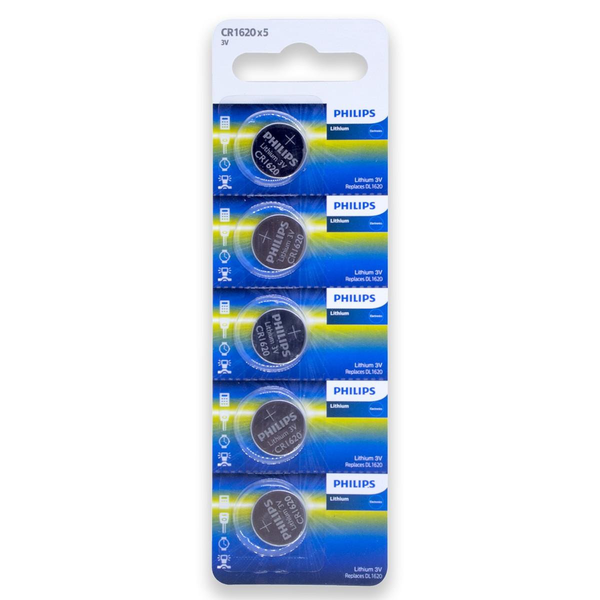 10 Pilhas PHILIPS CR1620 3v Bateria Original - 2 cartelas