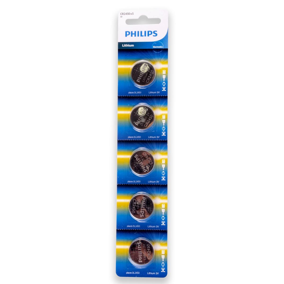 10 Pilhas PHILIPS CR2450 3v Bateria Original - 2 cartelas