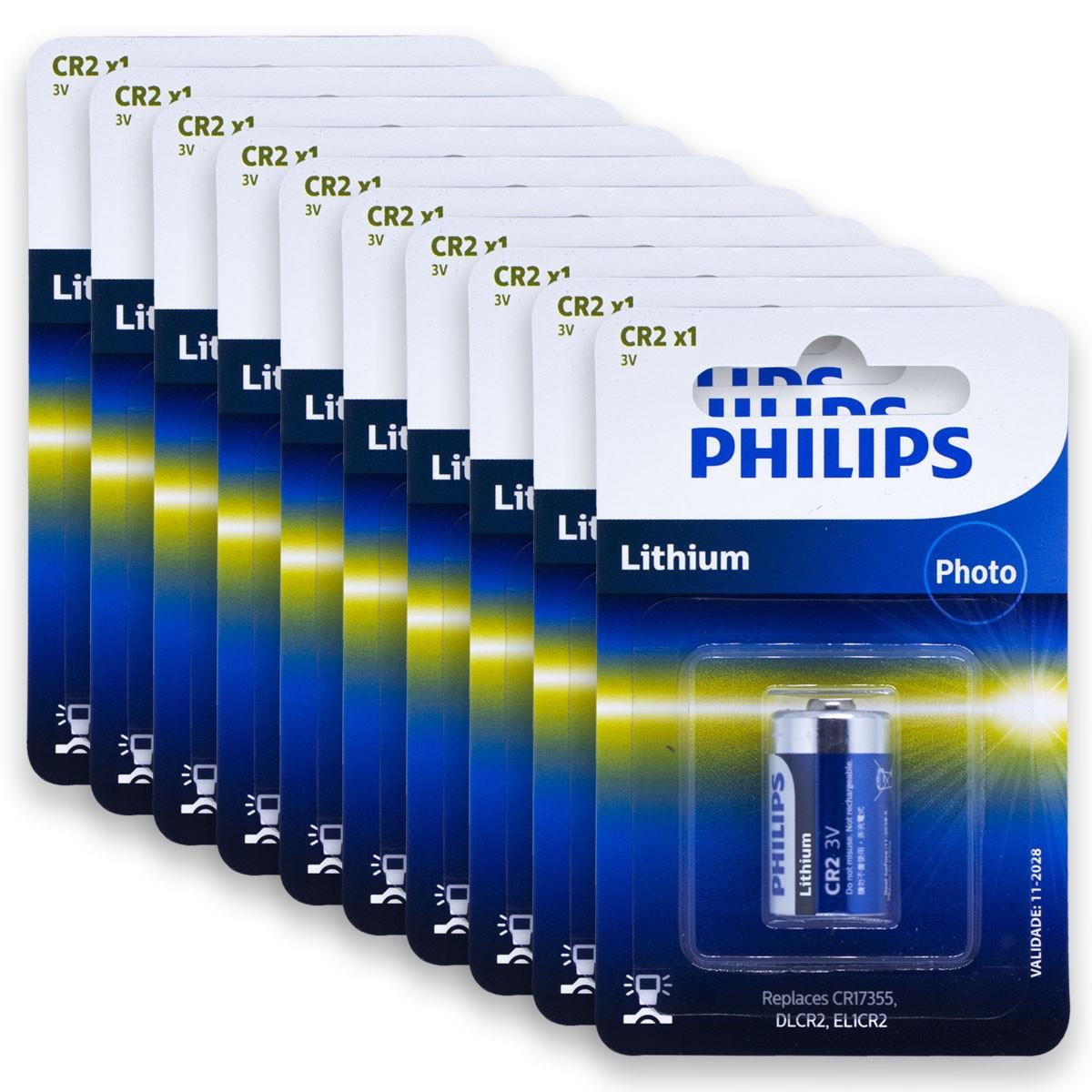 10 Pilhas PHILIPS CR2 3V Bateria 10 cartelas