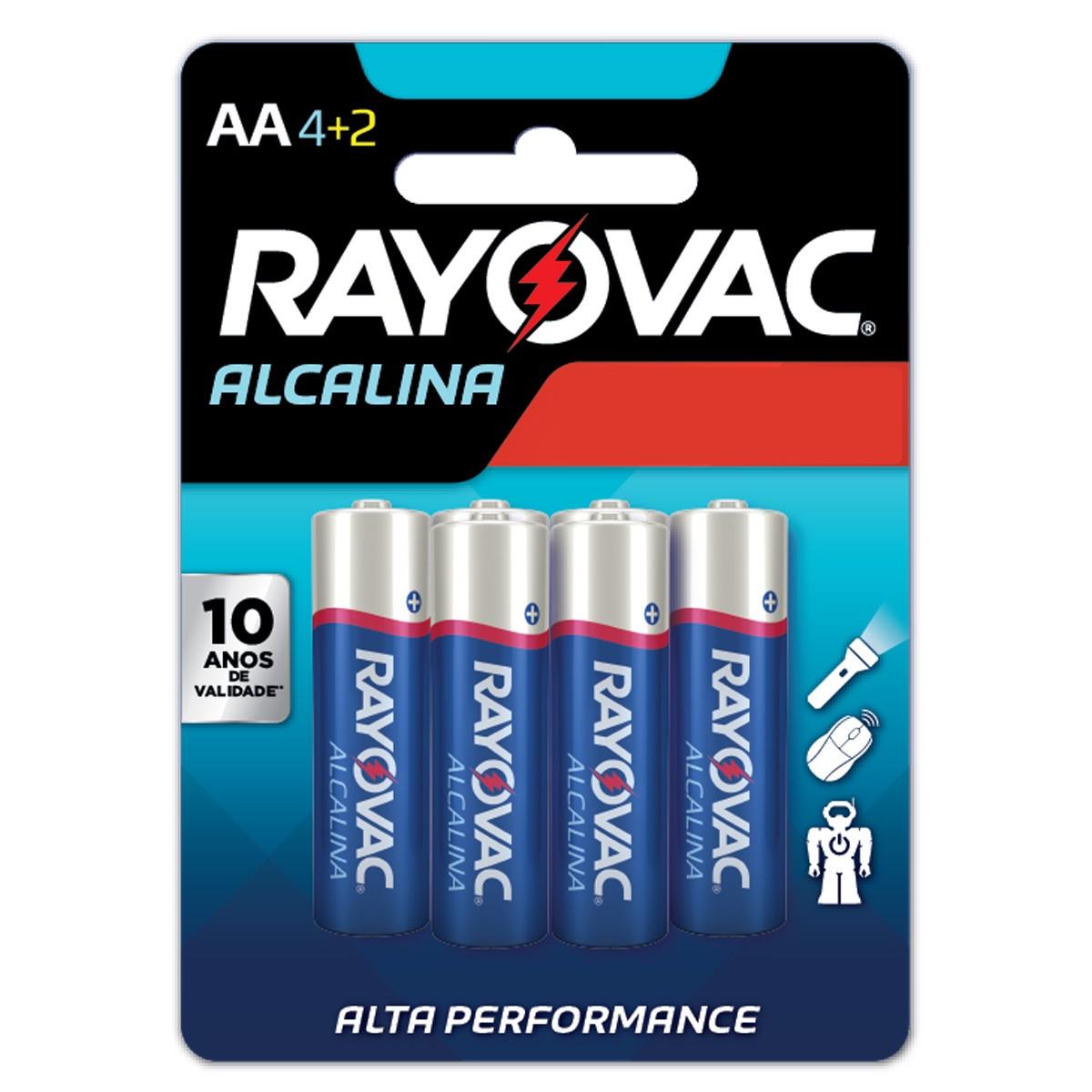 120 Pilhas AA Alcalina RAYOVAC 20 cartelas