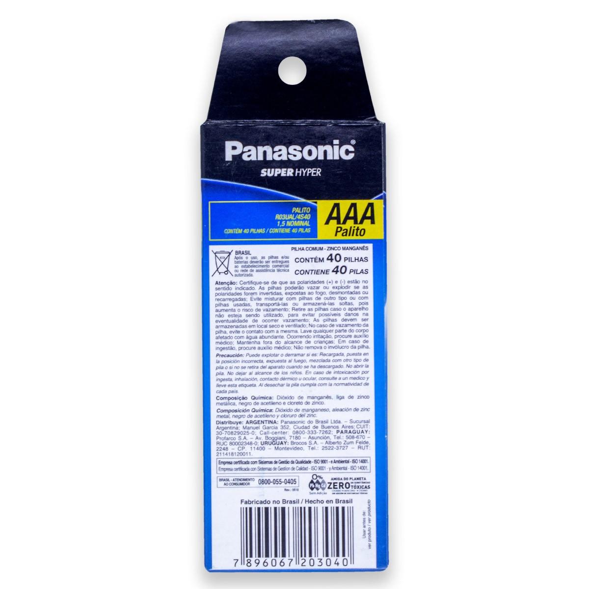 120 Pilhas AAA Zinco Carvão PANASONIC 3 tubos