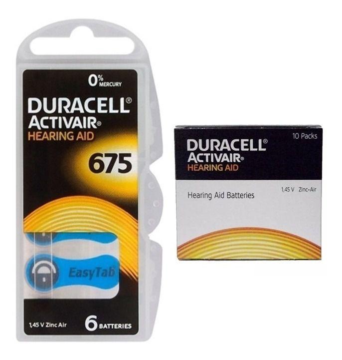 120 Pilhas Baterias DA 675 PR44 Aparelho Auditivo - Duracell