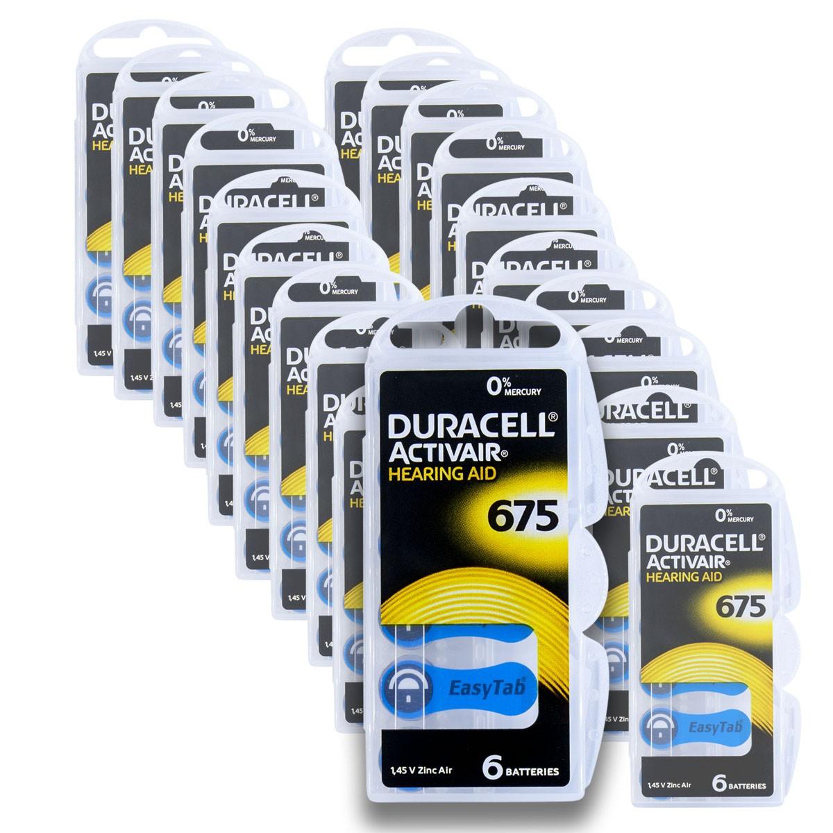 120 Pilhas DA675 DURACELL baterias PR44 Aparelho auditivo