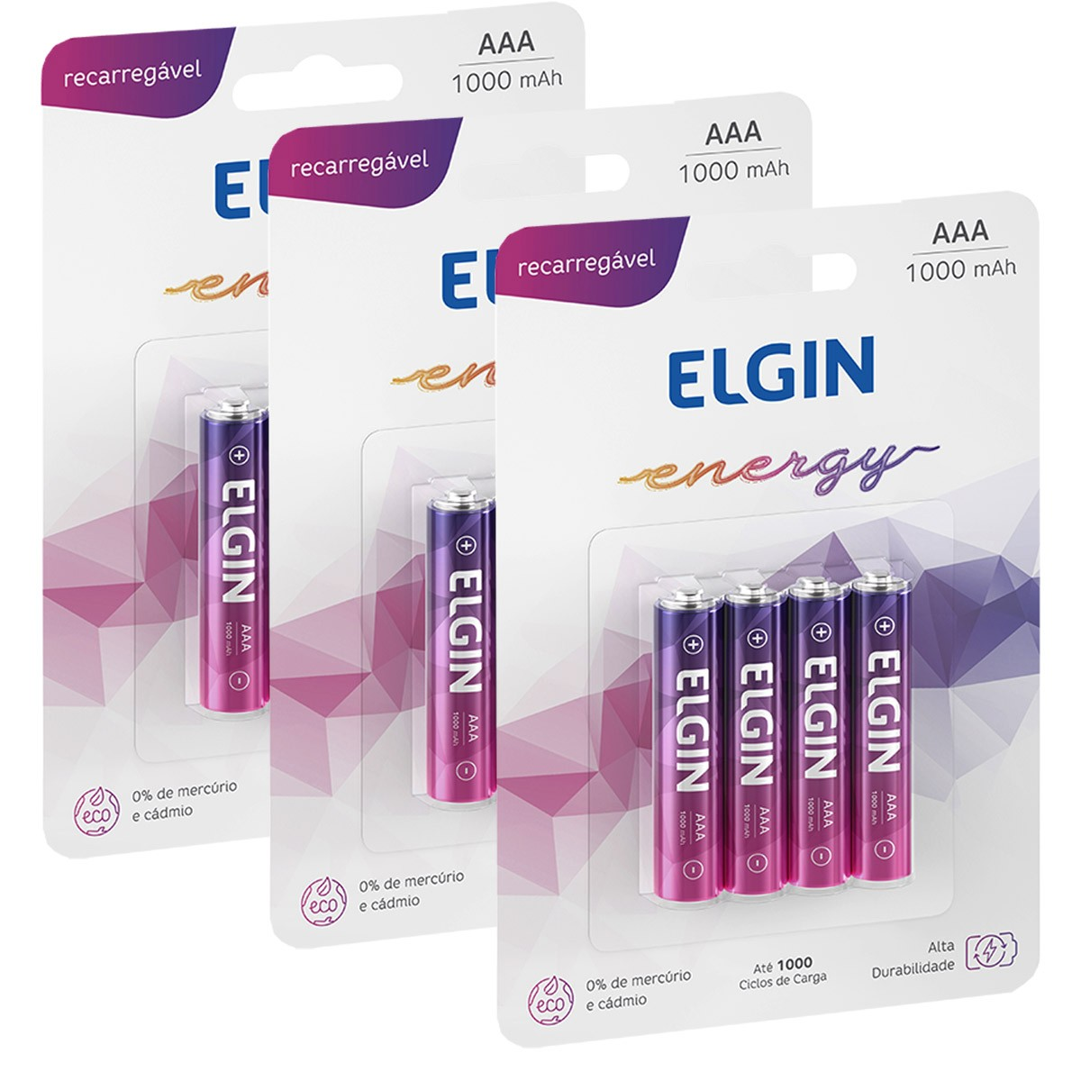 12 Bateria ELGIN AAA 1000mAh Recarregável Alcalina 3 cartela