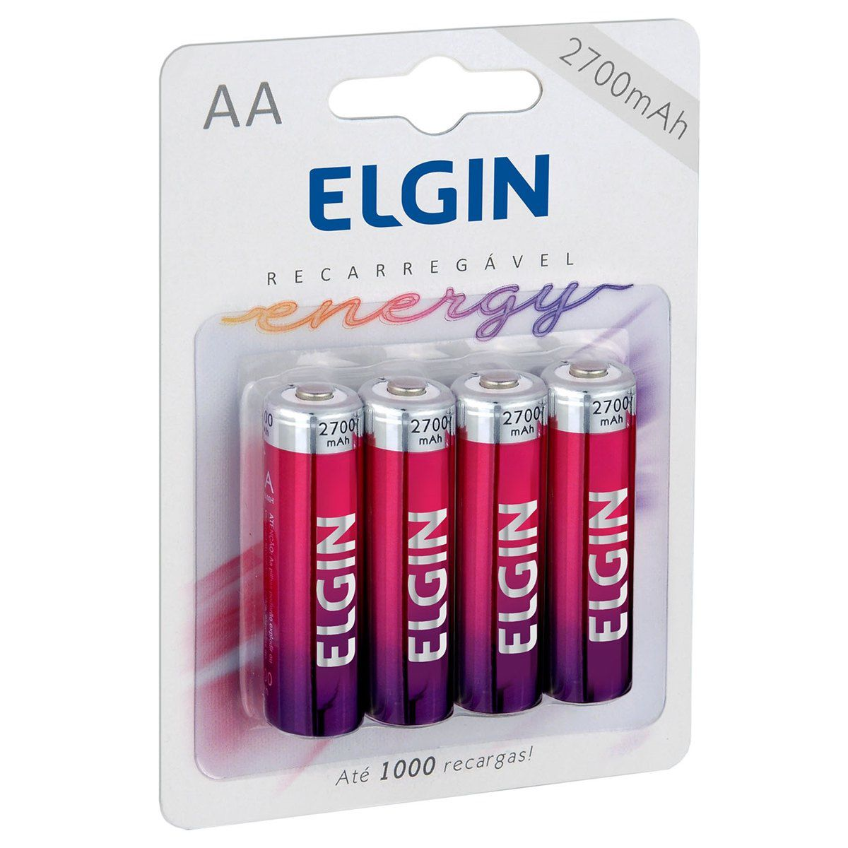 12 Pilhas AA 2700mAh Recarregável ELGIN - 03 cartelas com 4 unidades