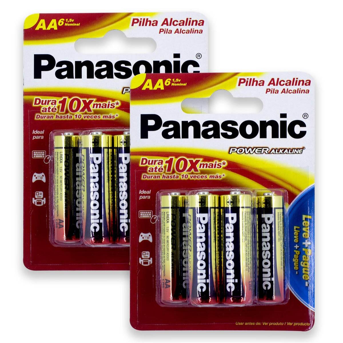 12 Pilhas AA Alcalina PANASONIC 2 cartelas