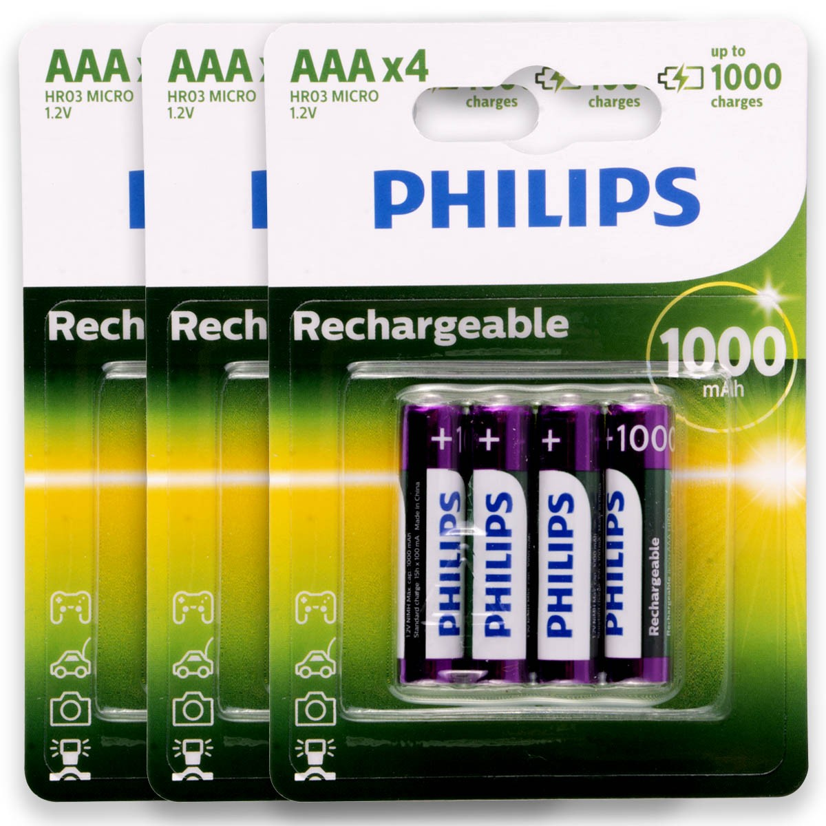 12 Pilhas AAA 1000mAH Recarregável PHILIPS 3 cartelas